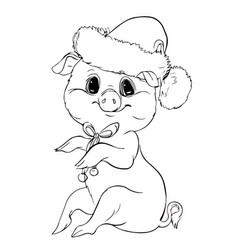 piglet contour cute new year character vector image