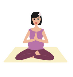 pregnant girl namaste pose vector image vector image