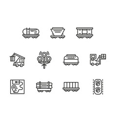railroad logistics black line icons set vector image