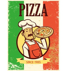 retro style chef presenting a plate of pizza vector image