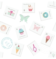 Seamless pattern background with postage stamps vector