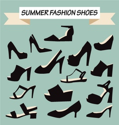 set of summer Fashion female Shoes vector image vector image