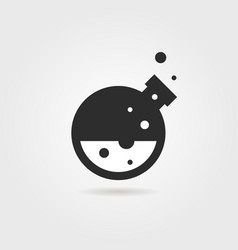 Simple black lab icon with shadow vector