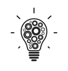 Simple light bulb conceptual icon with gears vector