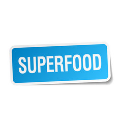 Superfood blue square sticker isolated on white vector