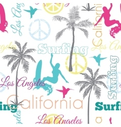 Surfing california colorful seamless vector