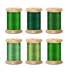 Thread Spool Set Bright Old Wooden Bobb vector image