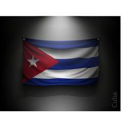 waving flag cuba on a dark wall vector image vector image
