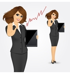 Woman holding tablet screen vector