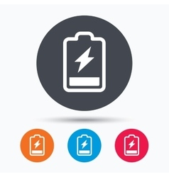 Battery power icon charging accumulator sign vector