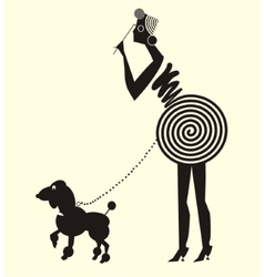 Lady in dress and dog vector image
