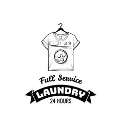 T-shirt machine concept laundry and dry cleaning vector