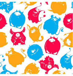 seamless pattern of cartoon fluffy monsters vector image