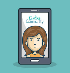 Character and smartphone online community design vector