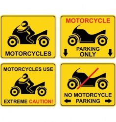 Motorcycle set of road sign vector