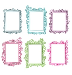 Set of colorful floral frames vector