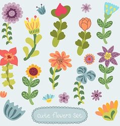 Cute vintage hand drawn flowers set vector