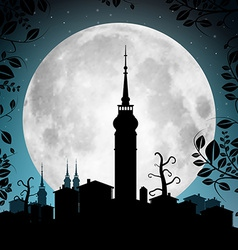 Full moon with town silhouette - houses and vector