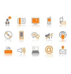 Communication icon set  orang vector