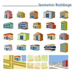 Isometric buildings and maps vector