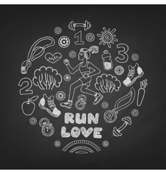 Run icons set vector