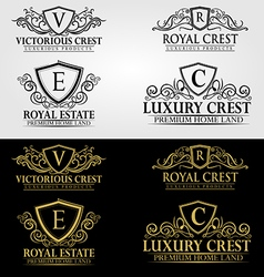 Heraldic crest logos and badges vol 3 vector