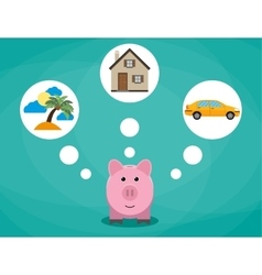 Cartoon pink piggy bank dreaming about holidays vector