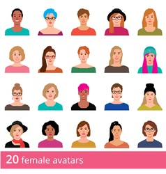 Set of avatars attractive woman on a white vector