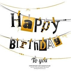 Birthday card clothespin and colorful letters vector