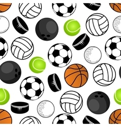 Sports balls and hockey pucks pattern vector