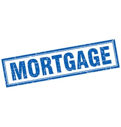 Mortgage blue square grunge stamp on white vector