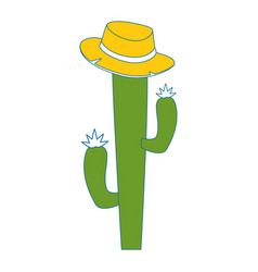Cactus with hat icon vector