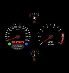car dashboard on black background vector image