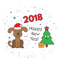 Christmas card with cartoon dog vector
