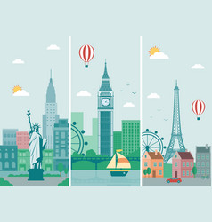 cities skylines design with landmarks london vector image vector image