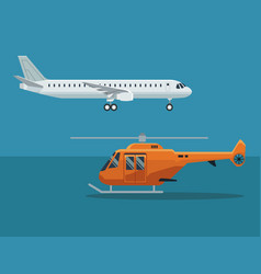 Color background with airplane and helicopter in vector