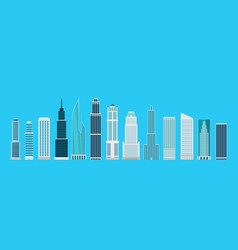 Different skyscrapers on blue elements collection vector