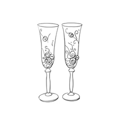 doodle wedding glasses vector image vector image