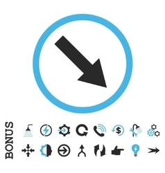 Down-right rounded arrow flat icon with vector