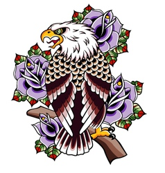 Eagle tattoo with rose vector