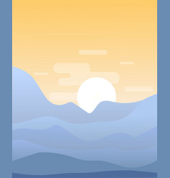 Flat cartoon sunset landscape vector