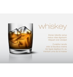 Glass of whiskey with ice vector