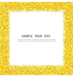 Gold glitter background frame sparkles on white vector image vector image