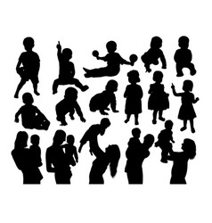 Happy mother with son silhouettes vector