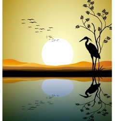 heron silhouette on lake vector image vector image