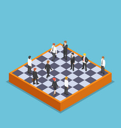 isometric businessman playing business chess vector image vector image
