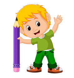 kids boy with big pencil cartoon vector image vector image