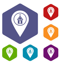 Map pointer with church icons set hexagon vector