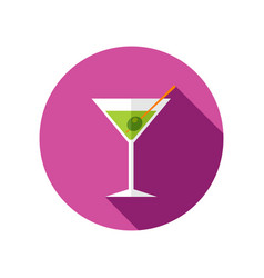 martini cocktail icon summer vacation vector image