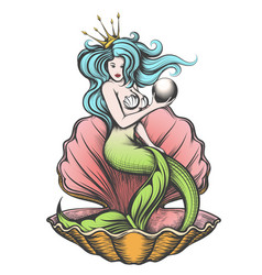 mermaid with pearl in her hand vector image
